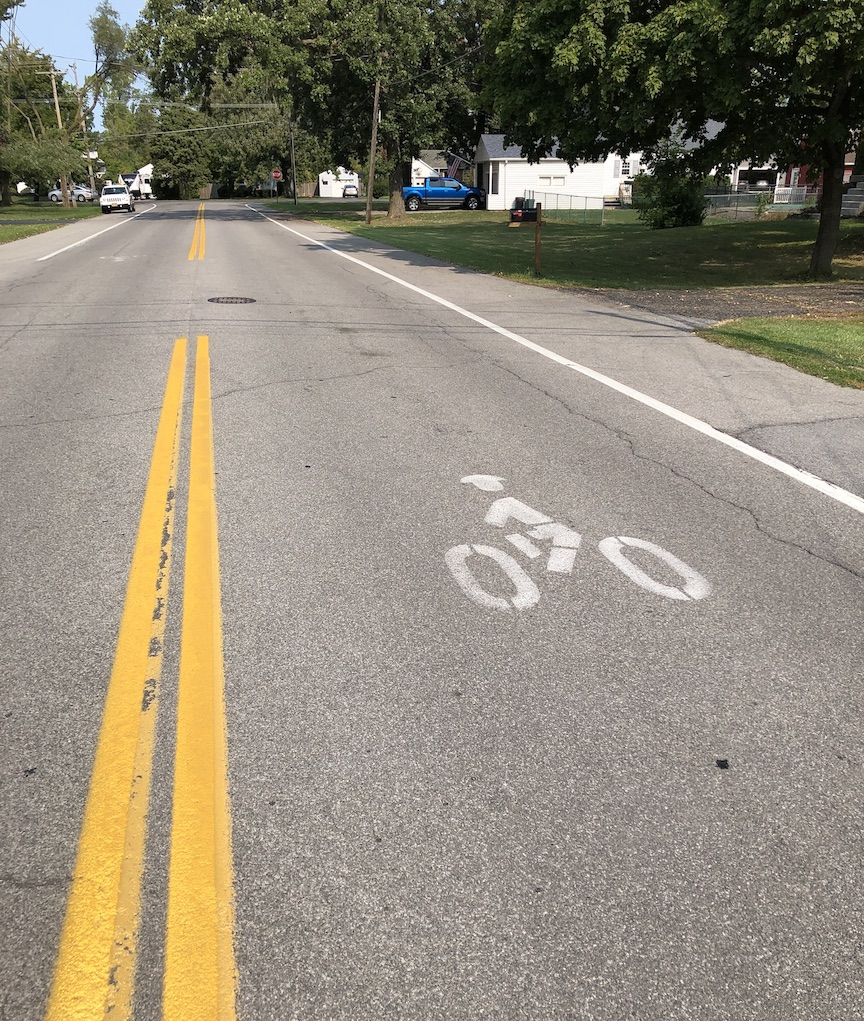 An existing bike path begins at Cayuga and South Ninth streets; it crosses Center Street and goes down North Ninth Street, extending over to Mohawk Street.