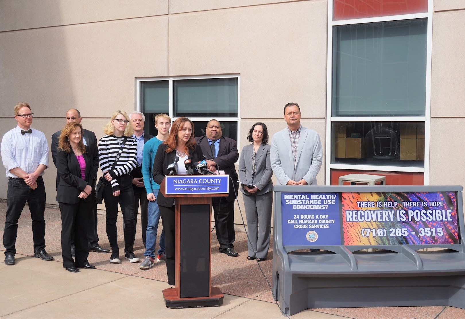 Niagara County Legislator Rebecca Wydysh speaks at a press conference Thursday. (Submitted photo)