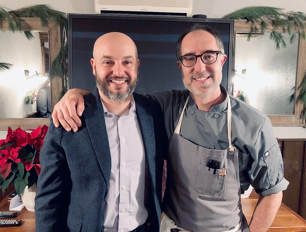Alessandro Renzi, left, and Carmelo Raimondi are shown following a special screening of `Carmelo's: The Show` last weekend. The audience - and the snacks - are shown below.