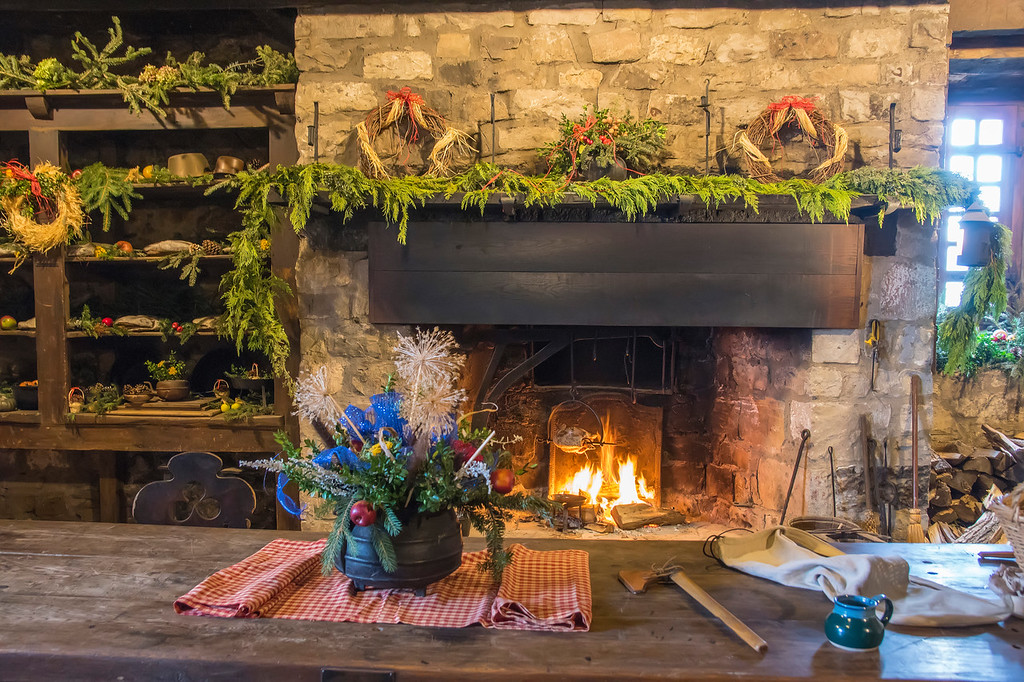The French Castle gets a Christmassy makeover for `Castle by Candlelight,` courtesy of the Youngstown Garden Club. The boulangerie, shown here, is just one of many rooms that gets beautified. (Photos by Wayne Peters)