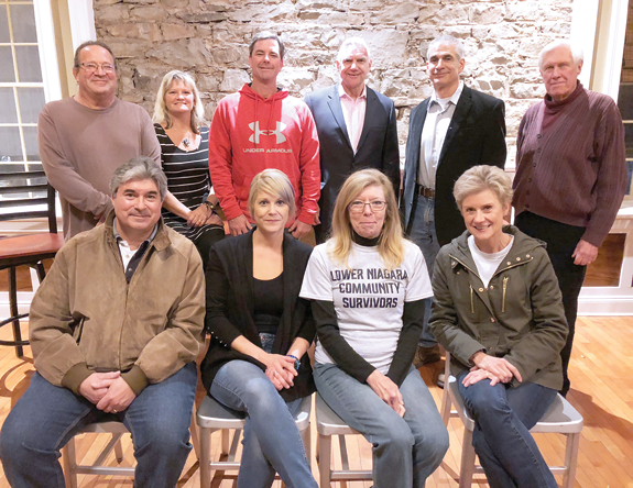 Pictured, from left, front row: Lower Niagara Community Survivors Group board members Mark Potenza, Gina Trunzo, Melody Griffith and Dina Potenza; back row: Neil Garfinkel, Donna Garfinkel, Ken Bryan, Niagara Falls Memorial Medical Center President and CEO Joseph A. Ruffolo (sponsor), Emery Simon and Skip Mazenauer. Camera-shy board members include Vincent DiMarco, Jimmy Alfiere, Al Bax, Felicia Heinz, Steve Heinz, Colleen Mary Summerville and Kris Trunzo.