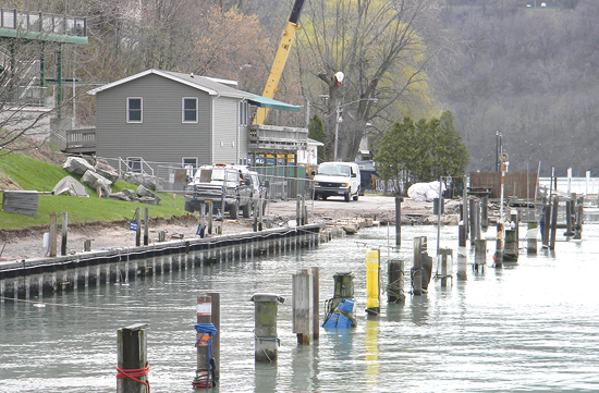 Views of the disruptions found on the Lewiston docks and riverside areas, as a massive shoreline rehabilitation project continues. (Photo by Terry Duffy)