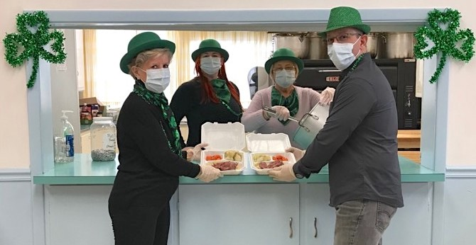 First Presbyterian Church of Lewiston is gearing up for a takeout traditional St. Patrick's Day dinner on Wednesday, March 17. Members coordinating the dinner are, from left: Patricia Berggren, Sandy Wasko, Louise Wasko and Jimmy Ewy. Proceeds from the fundraiser will go toward preservation of the Old Stone Church, Lewiston's oldest and most historic church.