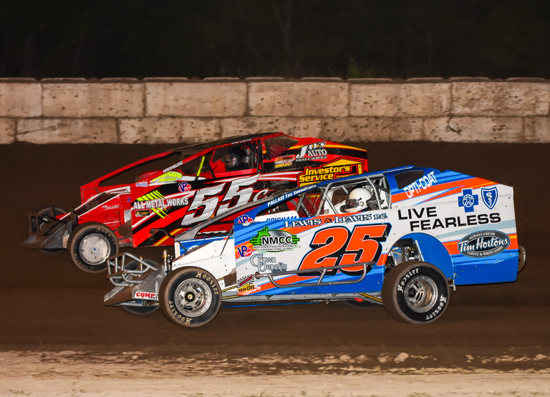 Heated action in the Ransomville Speedway modifieds. Below, another full house at the Big R. (Submitted photos)