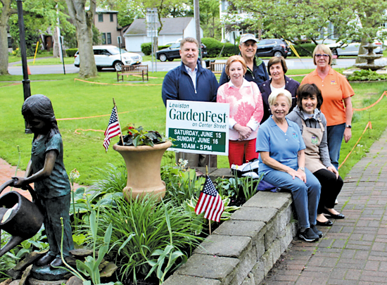 Town of Lewiston Supervisor Steve Broderick, Mayor Anne Welch and Councilman William Geiben joined members of the GardenFest committee in Hennepin Park to view improvements that have been made. From left, seated: Barbara Carter and Peggy Barber; standing: Broderick, Welch, Geiben, Sharon Low and Dawn Roberts.