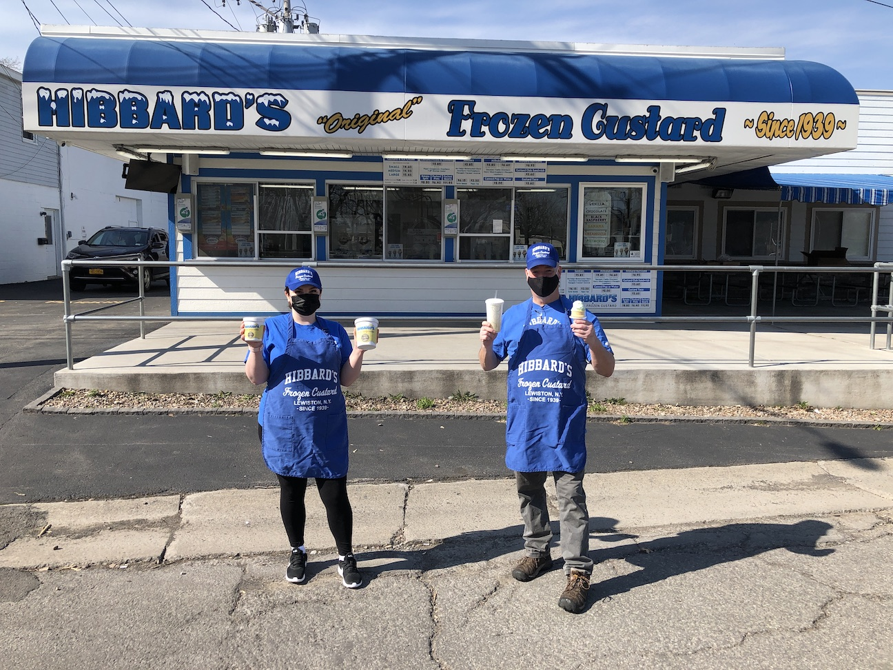 Pictured opening day at Hibbard's Original Frozen Custard are servers Ariane Nichols and Dan Buchner.