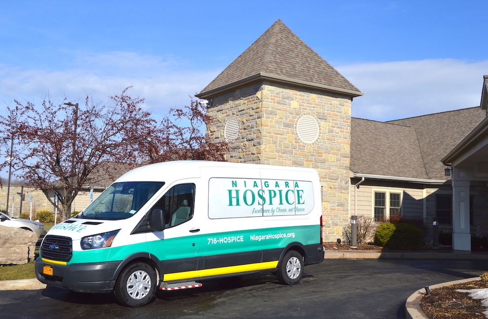 Niagara Hospice's new ambulette for transporting patients features the organization's logo, tagline and primary colors after being wrapped by Streamline Designs of North Tonawanda.