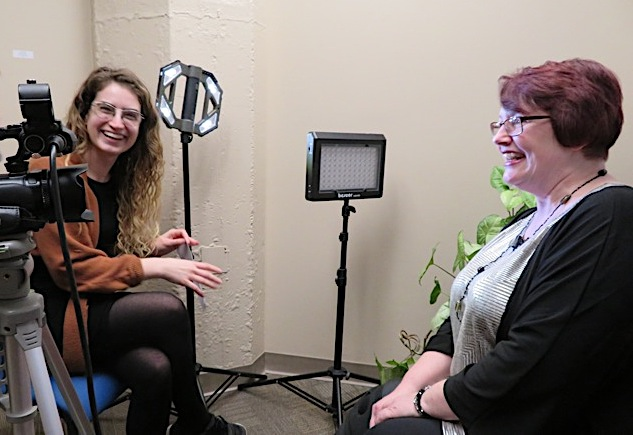 Holly Grant, grants and programming manager at ASI of WNY, interviews Lewiston Public Library Children's Librarian Ann Siejka.