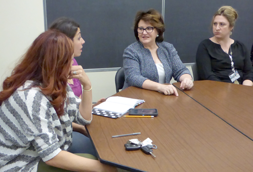New York State Education Commissioner Mary Ellen Elia, center, meets with Lewiston-Porter teachers.