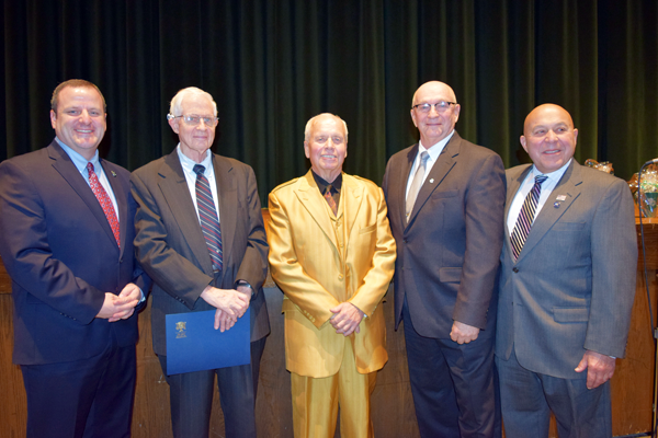 Pictured, from left: Lewiston-Porter High School Principal Jake Taft, Jeremy Robert Johnson, Bruce Newton, Bruce Sutherland and Assemblyman Angelo Morinello.