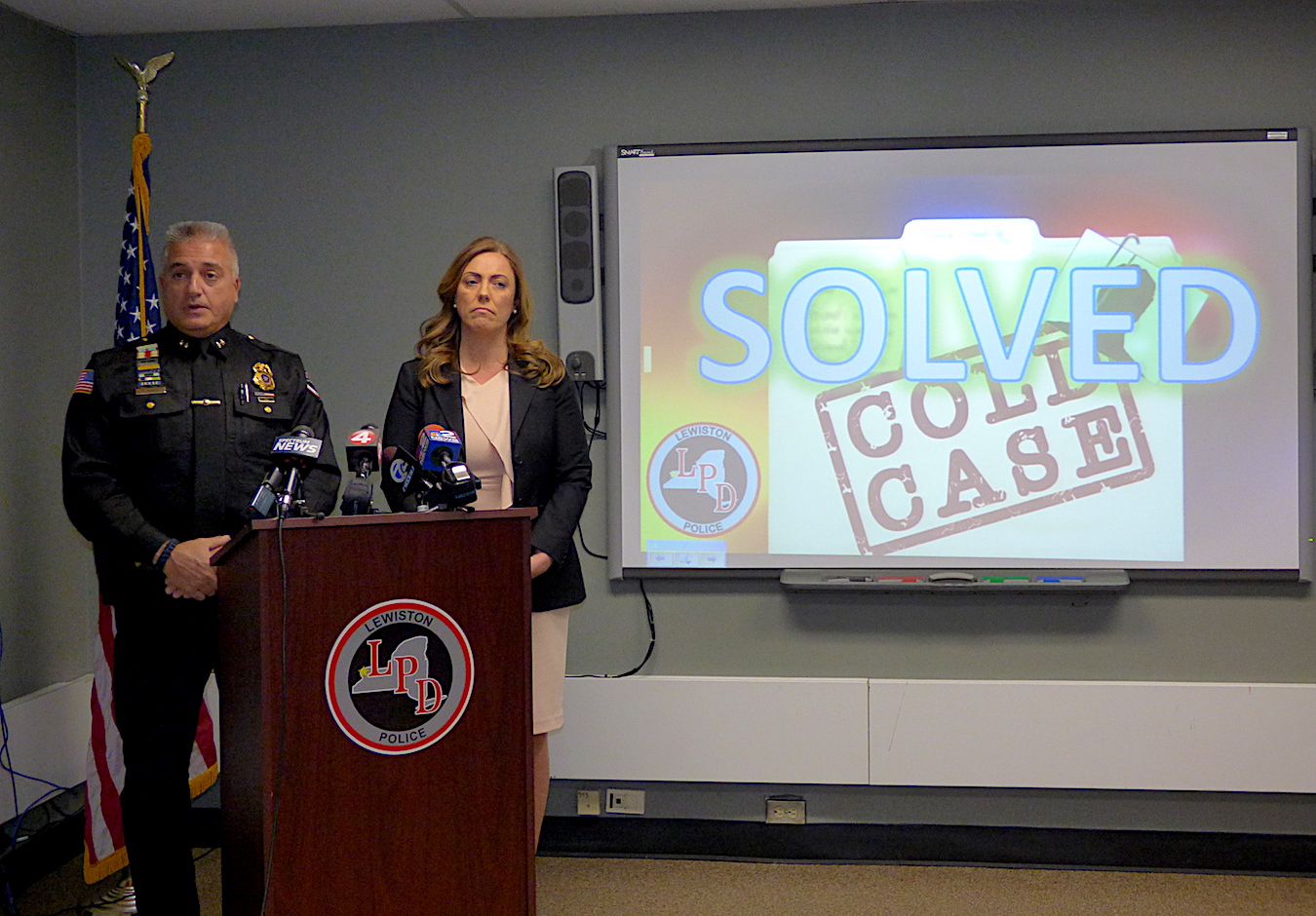 Lewiston Police Department Chief Frank Previte and Niagara County District Attorney Caroline Wojtaszek address the media.