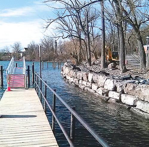 Remediation work to address high water levels in the boat launch areas at Fort Niagara State Park. (Photo by Terry Duffy).