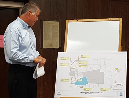 Town engineer Robert Lannon discusses the $10.3 million town water line improvement project. (Photo by Terry Duffy)