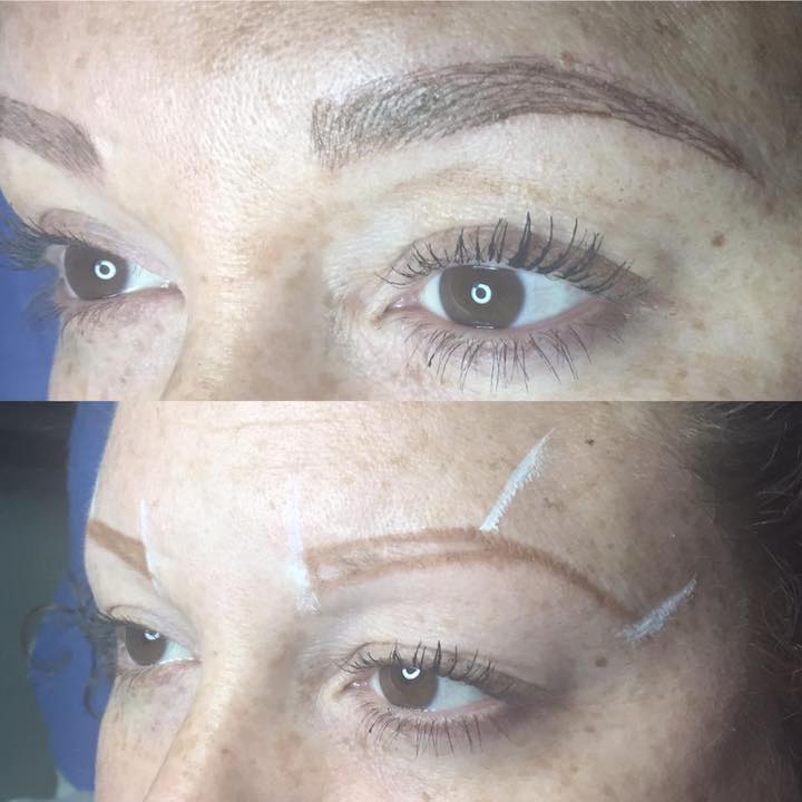 The after (top) and before images of a microblading technique offered at The Lash and Brow Boutique in Lewiston.
