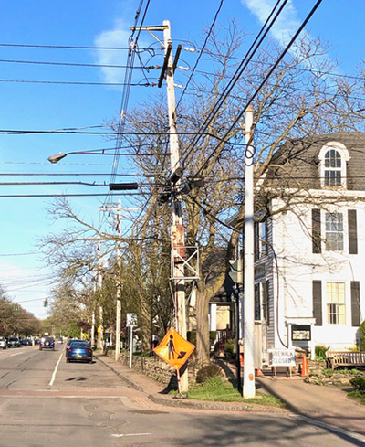 Pictured is the Center and South Fifth streets' `spider web` of utility wires. (Image courtesy of Lee Simonson)