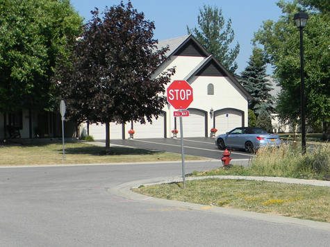 A view of the traffic enforcement stop sign recently installed at Northridge and Legacy drives. (Photo by Terry Duffy)