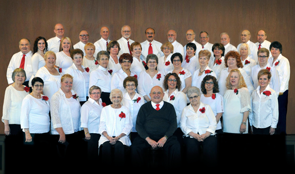 Donald D. Shrimpton with the Lewiston Choraleers. (Image courtesy of group)