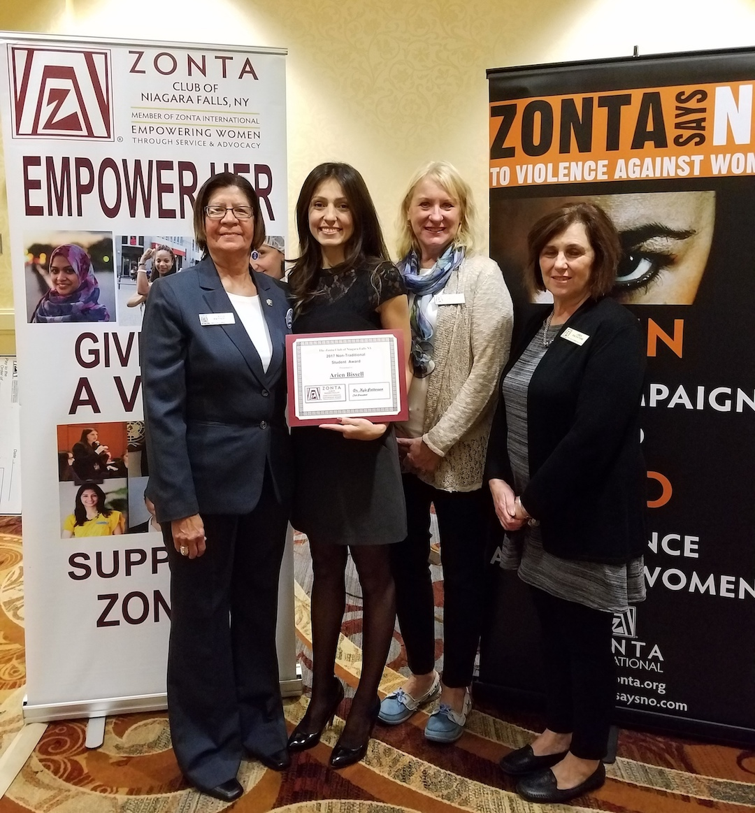 From left: Zonta President Dr. Kyle Patterson, Arien Bissell holding the award certificate, Bonnie Weidert and Linda Salvatore from the educational awards committee.