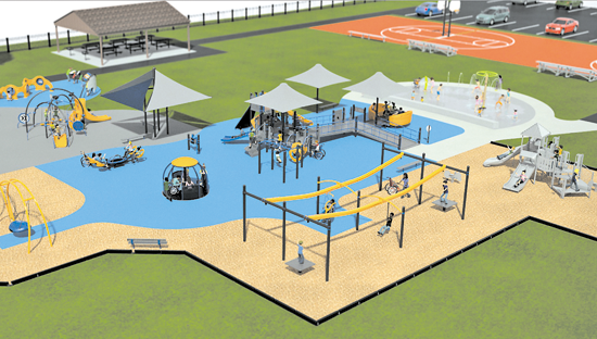 Both the Mason's Mission Playground at Marilyn Toohey Park project and Veterans of Foreign Wars `Circle of Honor` proposal received a `consistent` vote from the Greenway Commission. (Top image courtesy of Parkitects; bottom photos courtesy of VFW Downriver Post No. 7487)
