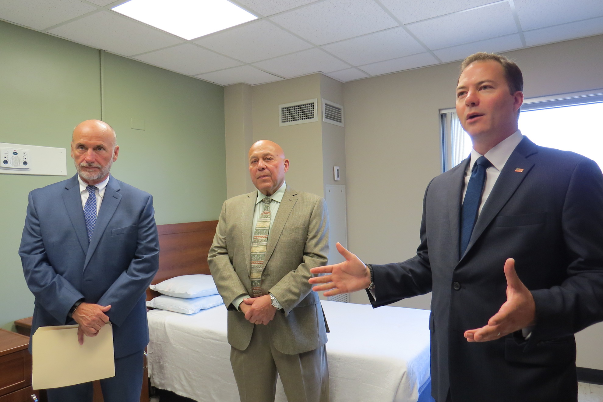 New York State Sen. Robert Ortt addresses the media inside a new Clearview room at Mount St. Mary's Hospital in Lewiston. To his far left are hospital President/CEO Gary C. Tucker and Assemblyman Angelo Morinello.