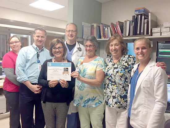 Pictured are members of the Mount St. Mary's Hospital emergency department team gathered to accept the Get With The Guidelines-Stroke Gold Plus Quality Achievement Award. From left: Lindie Pringle, R.N.; neurologist Dr. Gregory Sambuchi, head of the hospital's stroke team; stroke coordinator Rosanne Schiavi; Emergency Department Medical Director Dr. Marc Klementowski; Janice Newman, emergency department unit secretary; Julie Rippo, R.N.; and Kadie Curry, R.N., staff director of the emergency department.