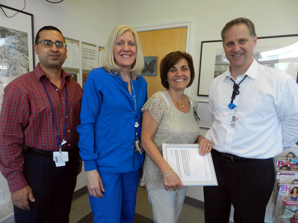 Pictured, from left: neurologist Dr. Baljinder Singh; emergency department interim director Kathy Lunick; stroke program coordinator Roseanne Schiavi and neurologist Dr. Gregory Sambuchi, who leads the stroke program at Mount St. Mary's.