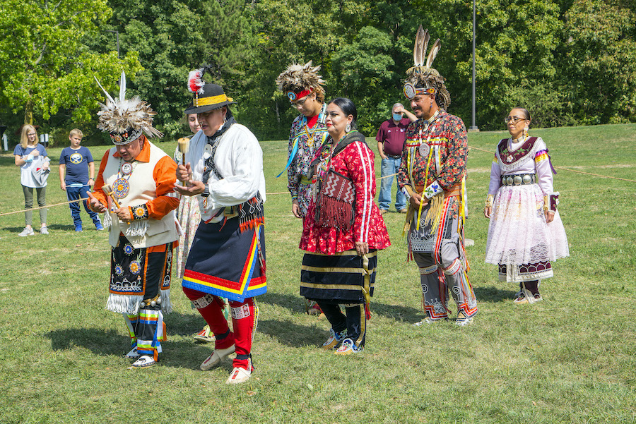 A display of Native American dancing Saturday at the 300th anniversary of the establishment of Le Magazin Royal. (Photo by Wayne Peters)