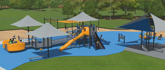 Pictured are artist's renderings of Mason's Mission Playground at Marilyn Toohey Park in Lewiston (behind the Red Brick Municipal Building) (Images courtesy of Lynn Mason and Parkitects)