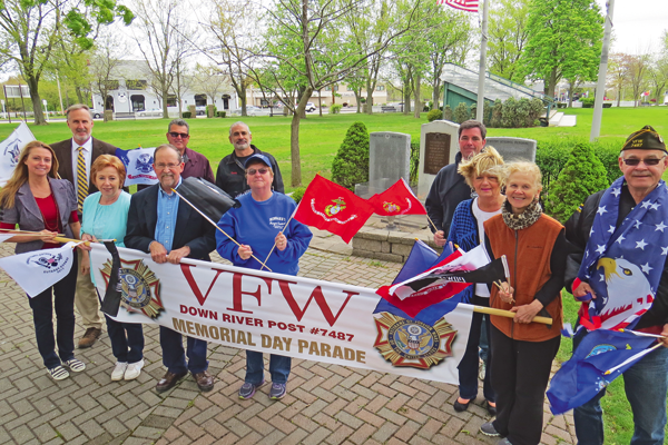 Pictured, from left, are Memorial Day program committee members and sponsors: Bonnie Myers and Bruce Andrews of Great Lakes Real Estate; Anne Welch; Norm Machelor; Anthony DiMino of DiMino Tops Lewiston; Emery Simon of Simon Construction and the Lewiston Stone House; Robin Haskell of Hibbard's Original Frozen Custard; Ken Bryan of The Brickyard Pub & B.B.Q.; Dale Williamson; Claudia Marasco; and Bill Justyk.