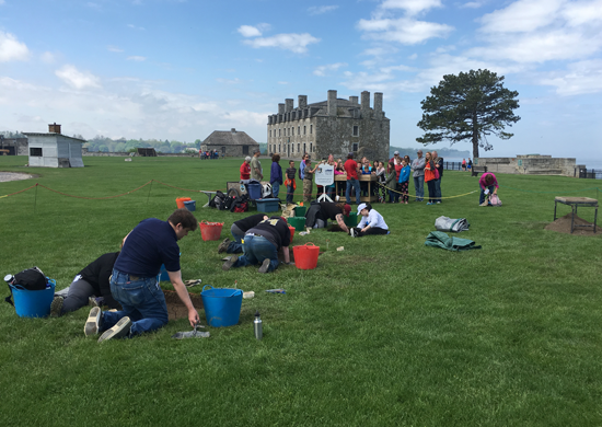 Anthropology students from SUNY Buffalo State College are excavating the foundation of a Revolutionary War-era barracks at Old Fort Niagara during the month of June. Visitors are welcome to watch their progress and talk to them. (Photos by Charlotte Clark)