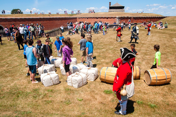 Visitors of all ages can help fortify the earthwork defenses during the French and Indian War Encampment. This activity is scheduled for 12:30 p.m. Saturday, July 1. (Photos by Wayne Peters)