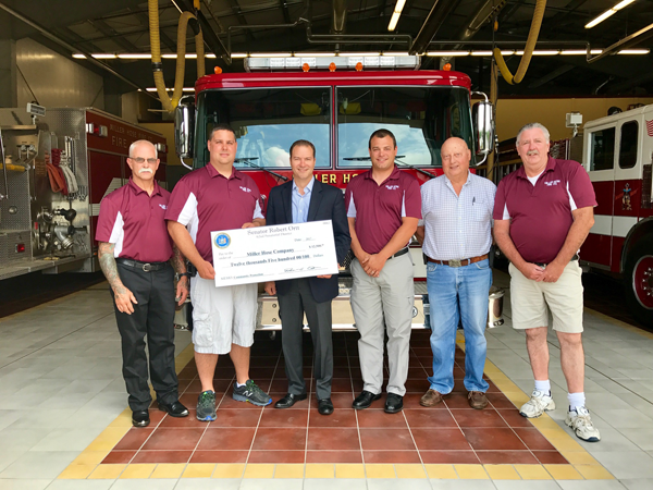 Pictured from left: Miller Hose Fire Co. President Jim Enderton, Fire Chief Jason Seib, Sen. Rob Ortt, 1st Assistant Fire Chief Jason Coleman, pump operator/driver Ed Eifert and interior firefighter/driver Mark Phelps.