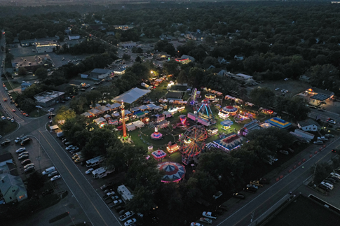 A sky-high view of the first night of the 2019 Niagara County Peach Festival at Academy Park. (Photo by K&D Action Photo and Aerial Imaging)