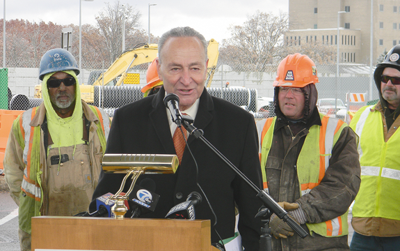 U.S. Sen. Charles Schumer discusses the $91 million U.S. Customs Plaza modernization project at the Lewiston-Queenston Bridge. (Photo by Terry Duffy)