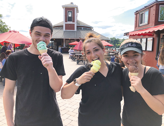 Pictured enjoying an ice cream outside of The Silo's signature caboose: Christian Pervaiz, Lexi Alfiere and Sierra Masic.