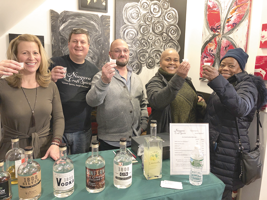 Crowds looking to `Sip. Shop. Eat!` in 2019 could do all of the above at Inspirations on Canvas. Pictured, from left, are artist Kathy Pignatora, Niagara Craft Spirits distillery owner Todd Snyder, Dr. Neal Pignatora, Buffalo's Pat Monroe and Wheatfield's Gigi Boyd.