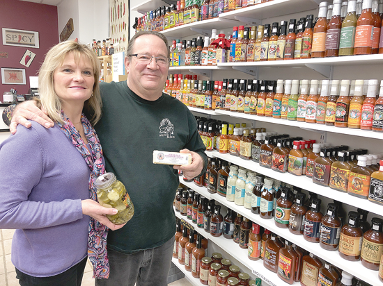 Donna and Neil Garfinkel of Sgt. Peppers Hot Sauces are participating in `Sip. Shop. Eat!` on Saturday, March 2. Their store, at the corner of North Fourth and Center streets, will offer a 10 percent discount on cheeses and sauces, as well as cheese, sauce and pickle tastings.