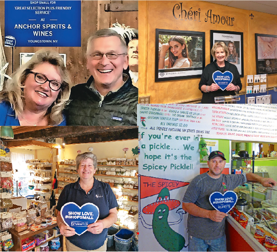 Small Business Saturday is back. Pictured, clockwise from top left, are: Cheryl and Mark Butera of Anchor Spirits & Wines in Youngstown; and Cheri Clark of Cheri Amour, Aaron Rotella of The Spicey Pickle and Kristen Brolinski of Spice Harbor, all of Lewiston.