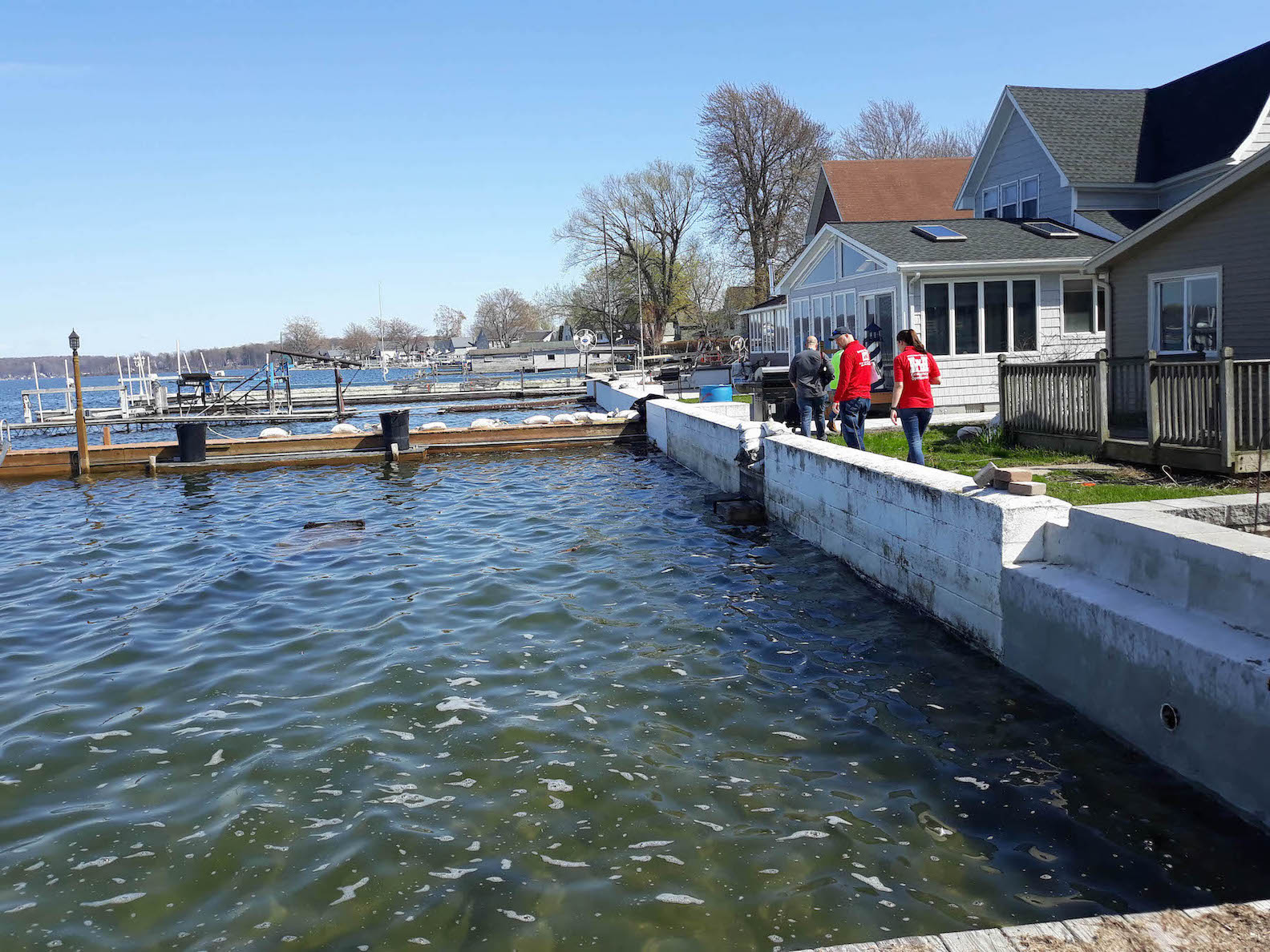 The U.S. Army Corps of Engineers, Buffalo District, deployed a technical team to assist the Village of Sodus with proper sandbag placement. The Village of Sodus requested the Buffalo District's assistance as rising water on Lake Ontario threatens to flood areas of the shoreline. (Photo courtesy of the U.S. Army Corps of Engineers, Buffalo District)
