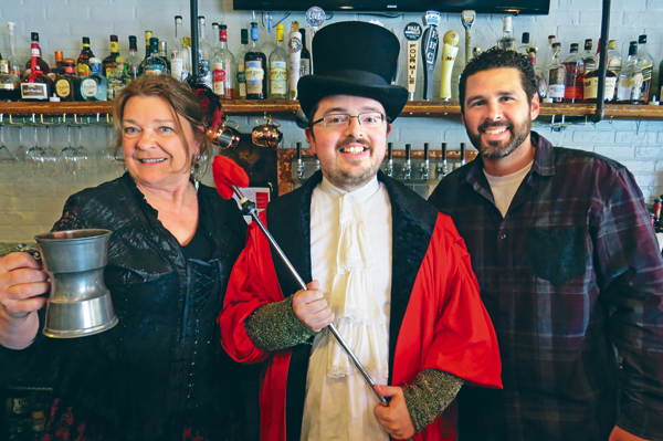 Pictured, from left, are Catherine Hustler (aka Kathryn Serianni) of the Lewiston Council on the Arts, Joshua Maloni of The Sentinel, and Michael Hibbard of Gallo Coal Fire Kitchen.