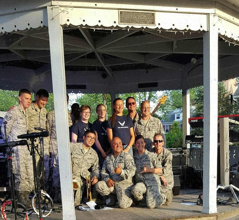 The Blue Aces Band performed Thursday in Lewiston and will play again at The Thunder of Niagara International Air Show this weekend.