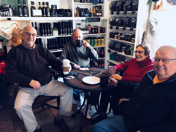 Pictured at the Orange Cat Coffee Co. are, from left, Bruce Sutherland, David, Betty Brice and Bill Bennion. The foursome said Tim Hortons is unlikely to match the locally owned store's quality, nor produce the same sense of camaraderie. ... At the same time, they noted Robert Burns has supported many local initiatives, organizations and groups, including the Kiwanis Club of Lewiston.