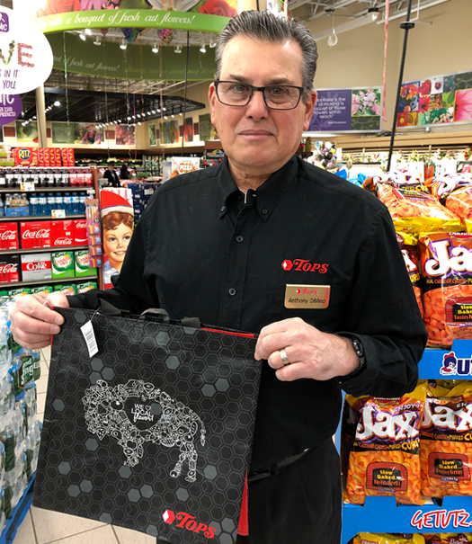 Lewiston Tops was one of the first supermarkets in the area to recognize the new plastic bag law and switch to reusable shopping bags. Owner Anthony DiMino gave out hundreds of free and discounted mesh bags in 2019, citing the importance of protecting the environment. (File photo)