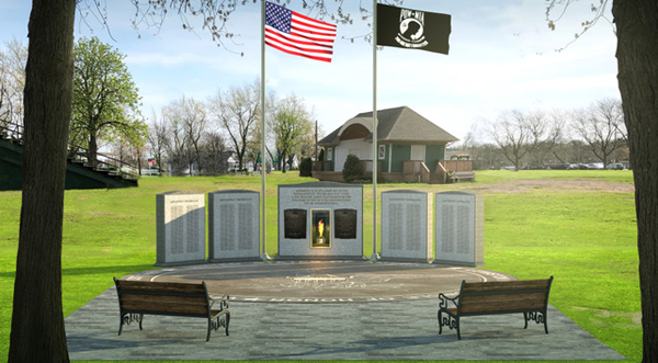 Pictured are artistic renderings of the proposed `Circle of Honor` memorial in the Village of Lewiston.