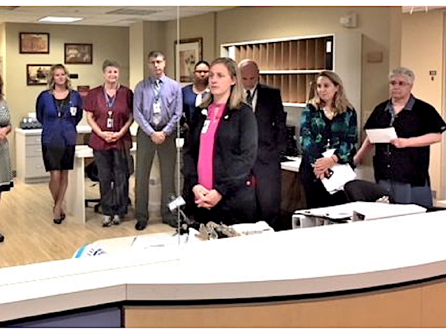 Jessica Visser, R.N., B.S.N., vice president of patient care Services, thanks the hospital staff as Mount St. Mary's prepares to open an additional 16 inpatient rooms on its third floor medical-surgical unit.