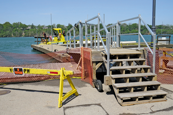 Pictured is the modified dock setup at Whirlpool Jet Boat Tours in Lewiston. The company is open for business.