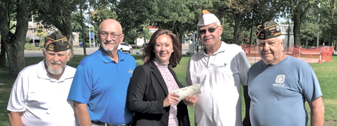 From left: VFW members Vince Canosa and Bruce Sutherland, Niagara County Legislator Rebecca Wydysh, VFW Cmdr. Bill Justyk and VFW member Harry Raby.