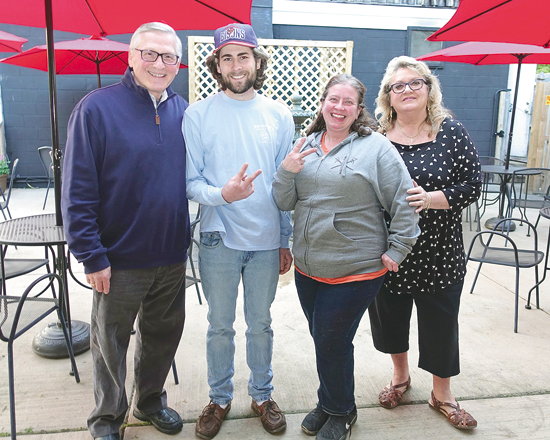 The Youngstown Business Association recognized Bandana's for its 16th year in business on Lake Road in the Town of Porter. Shown with YBPA's Mark and Cheryl Butera are Melissa Kudel and Bandana's staffer Derek.