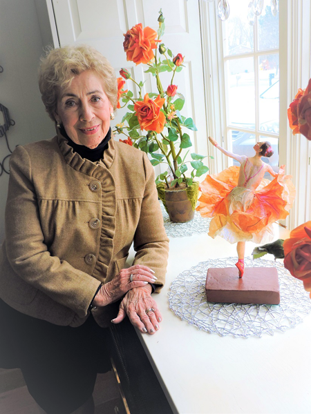 Helen Murray with one of her prized possessions: a ballerina sculpture made by friend and local artist Susan Geissler.