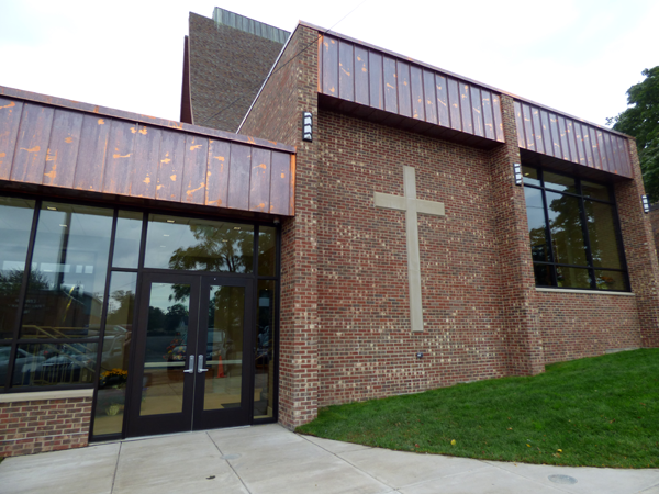 A look at the new exterior outside of St. Peter R.C. Church in the Village of Lewiston. (Photos and video by Joshua Maloni)
